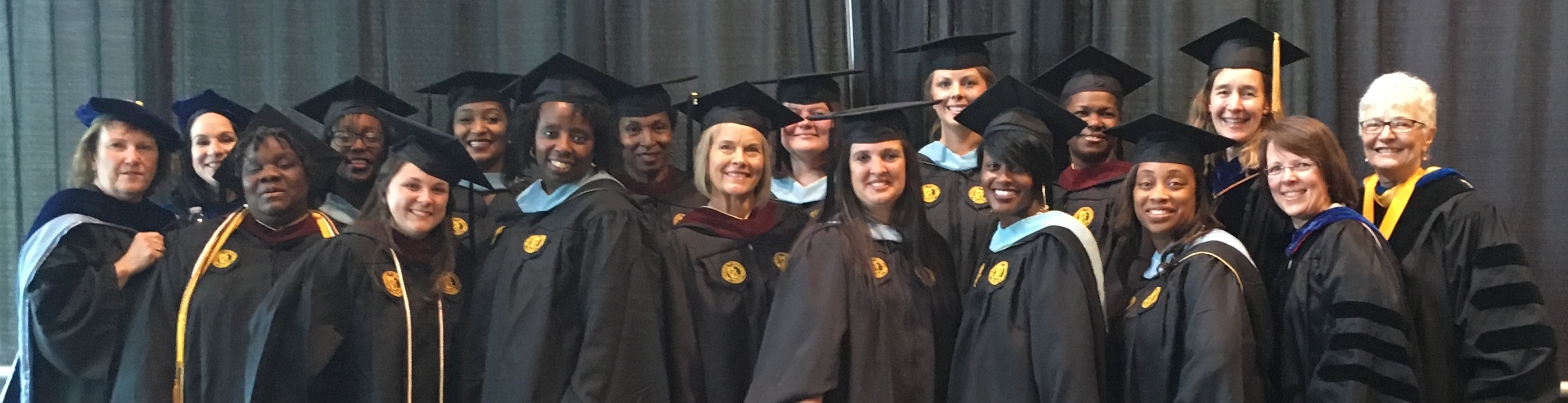 2016 graduates from the Masters of Education in Birth through Kindergarten Interdisciplinary Studies of Education and Development online program, pictured with faculty