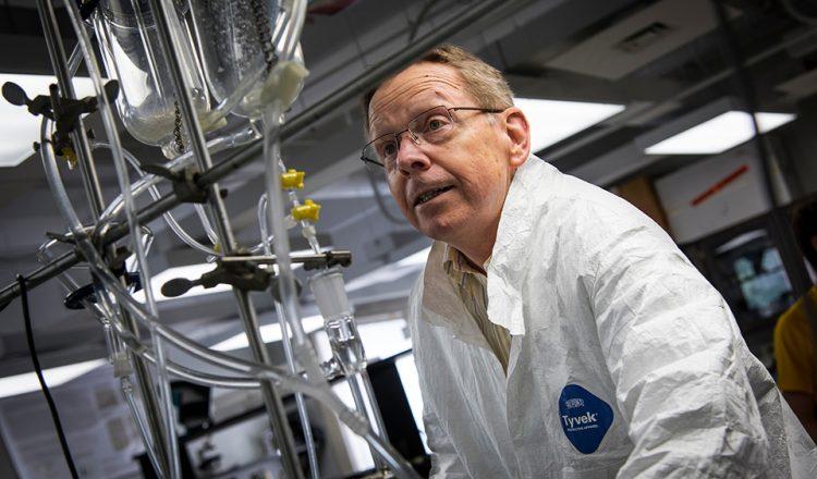 Dr. Joseph Starnes works in his laboratory on Thursday, April 21, 2016. (Tigermoth Creative/Chris English)