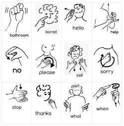 An image depicting a sample of ASL signs.