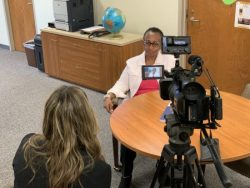 Dr. Sharon Morrison being interviewed on COVID-19 response