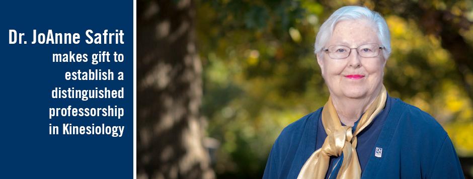 Joanne Safrit establishes distinguished professorship in kinesiology