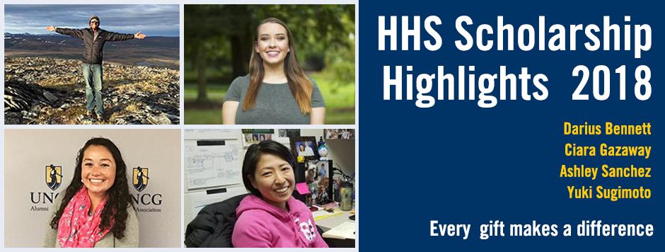 University Advancement features HHS scholarships awardees: Ashley Sanchez,Ciara Gazaway,Yuki Sugimoto, Darius Bennet